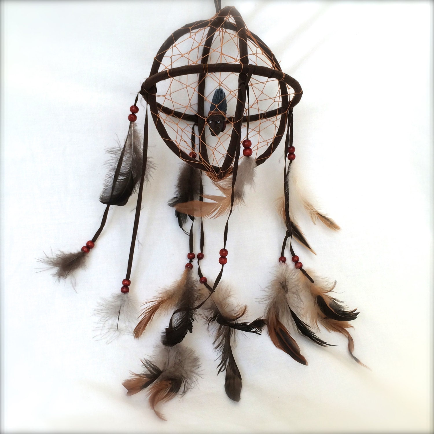 dream catcher mobile feathers beads and by ellasatticvintage