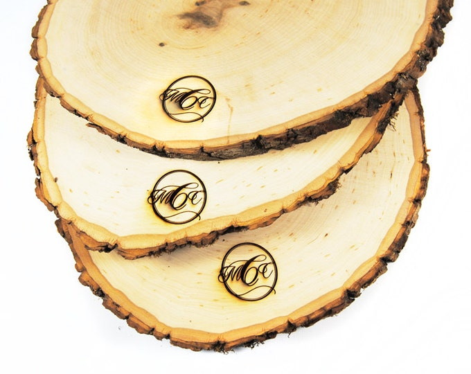 Rustic tree slice centerpieces - personalized 12 - 15 inch diameter