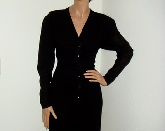 SC Vintage 80s Guy Laroche Paris Black Crepe Dress / Vintage Designer Dress / 1980s Little Black Dress LBD Sz 38