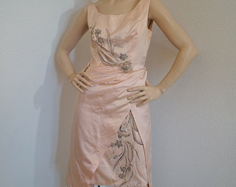 SC Vintage 1950s Dress / 50s Ceil Chapman Pink Silk Satin Beaded Cocktail Party Dress / Blush Pink Silk Sequined Beaded Designer Dress