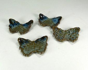 Ceramic tea bag holder spoon rests, pottery butterfly shaped spoon rests, blue ceramic butterflies, pottery chopstick rests set of 4