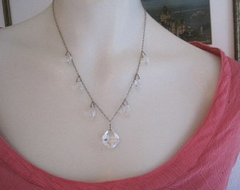 Vintage Czech Glass Drop Necklace Bride Bridal Jewelry Wedding