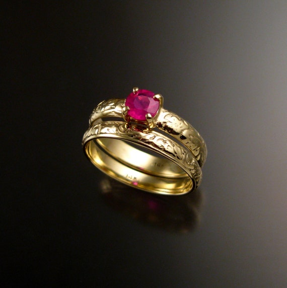 Ruby Wedding Ring Set 14k Yellow Gold Rings Made To Order In