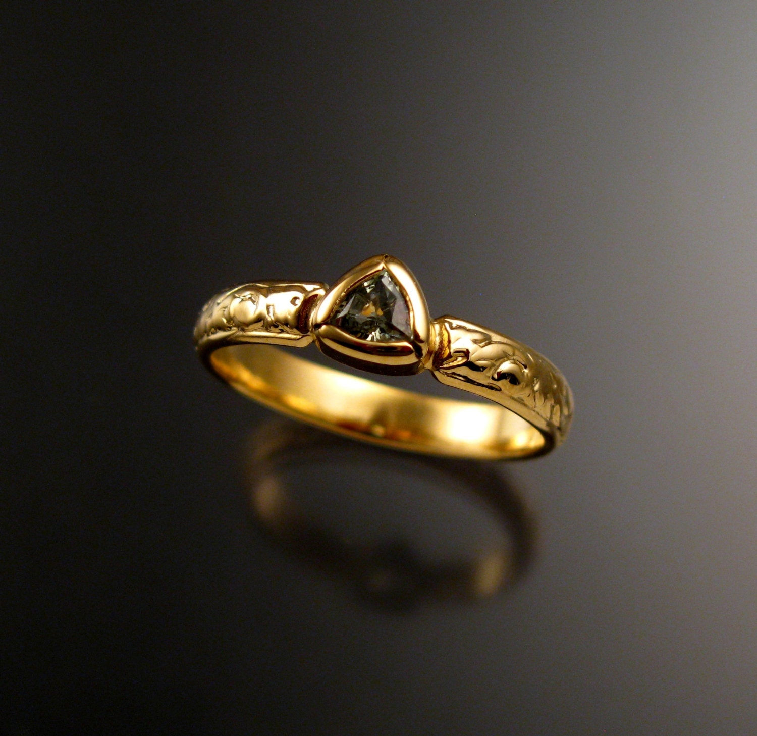 Green Sapphire Triangle Wedding Ring 14k Yellow Gold Victorian Bezel Set Made To Order In Your Size