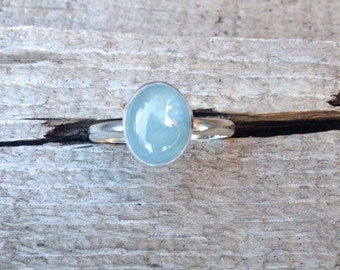 Natural Oval Blue Aquamarine Birthstone Sterling Silver Ring | March Birthstone Ring | Aquamarine Sterling Silver Ring | Solitaire Ring