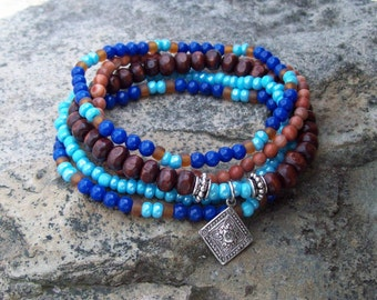 Royal Gypsy Blue - Beaded Stretch Stack Bracelets with silver Moroccan style charm - Mountain Jade and Malacite Stones