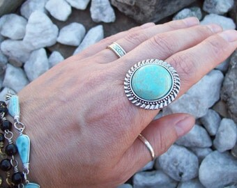 Boho Ring, Bohemian turquoise ring, silver and gemstone ring, adjustable ring, large stone gypsy ring