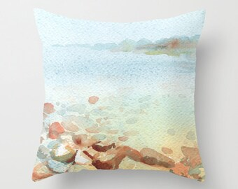 Foggy and Clear Watercolor Throw Pillow Cover