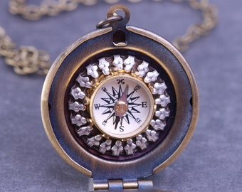 Working Compass Locket Compass Necklace Follow Your Dreams Steampunk Necklace