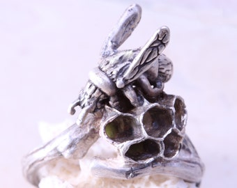 Real Wasp Nest Ring Honey Comb Tree Branch Ring Twig Ring Fine Silver Ring