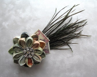 On the Riviera Kanzashi Flower Fascinator Hair Clip