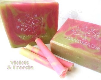 VIOLETS and FREESIA soap - with milks, shea butter, silk - hp by Bonny Bubbles