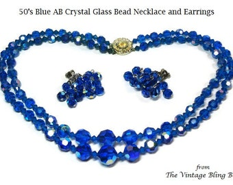 2 Strand Blue AB Crystal Bead Necklace & Cluster Drop Earrings with Rhinestone Hidden Clasp - Vintage 50's Demi Parure Costume Jewelry Sets