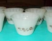 Vintage Mod Flower Power Dyna Ware Custard Cup / Serving Bowl - Set of 7!