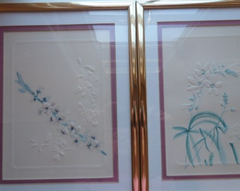 Vintage Pair of Embossed Etched Prints with Gold Frames