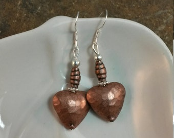 Copper Heart Sterling Silver Earrings, Copper Heart Silver Earrings, Copper Heart Sterling SIlver Earrings