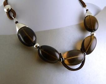 Smoky Quartz Luxurious Necklace. Brown.