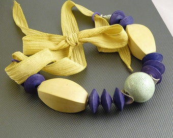 Oversized Yellow and Violet Wood, Ceramic  Necklace on Silk Ribbon
