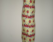 Plastic/Storage bag holder vintage cottage chic strawberries yellow background print cotton NEW great gift idea