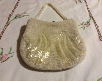 Vintage OFF-WHITE Beaded Evening Bag Purse