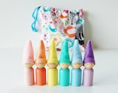 Spring Pastel Rainbow Gnome Pixies Set With Storage Bag Easter Toy - Waldorf Wooden Peg Dolls - Unique Gift - Zooble Toy - Spring
