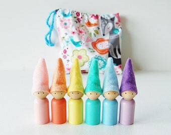 Spring Pastel Rainbow Gnome Pixies Set With Storage Bag Christmas Toy - Waldorf Wooden Peg Dolls - Unique Gift - Zooble Toy - Spring