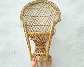 Vintage Peacock Doll Chair Wicker Miniature Dollhouse Furniture 70s