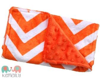 Bright Orange & White Double Minky Burp Cloth - Chevron - Nursing - Burp Rag - Newborn - Baby Shower - Gift - New Mom - Essentials
