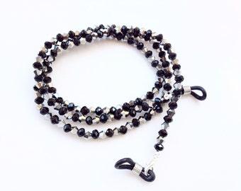 Eyeglasses holder chain black crystals beads beautiful eyeglasses neck chain N1