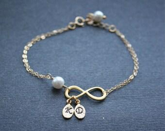 Gold Infinity Bracelet Personalized Infinity Bracelet Two Initials Friendship Bracelet Infinity Symbol Jewelry Monogram Infinity Gold Filled