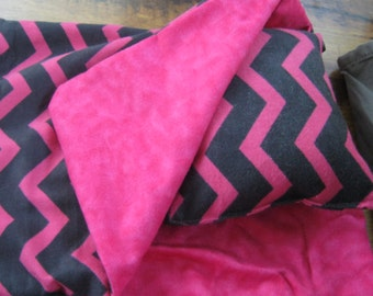 American Girl Doll Sleeping Bag, hot pink, black chevron doll bedding for 18 inch doll