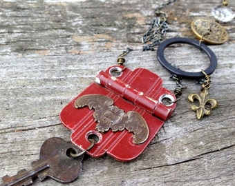 vintage hinge necklace | repurposed found object jewelry | eco-friendly | upcycled | barn owl necklace