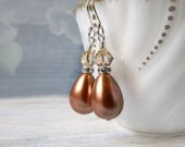 Bronze Pearl Teardrop Earrings Stacked Swarovski Crystal Drops Pearl Earrings Golden Shadow Sterling Silver Bridal Wedding Gift Best Friend