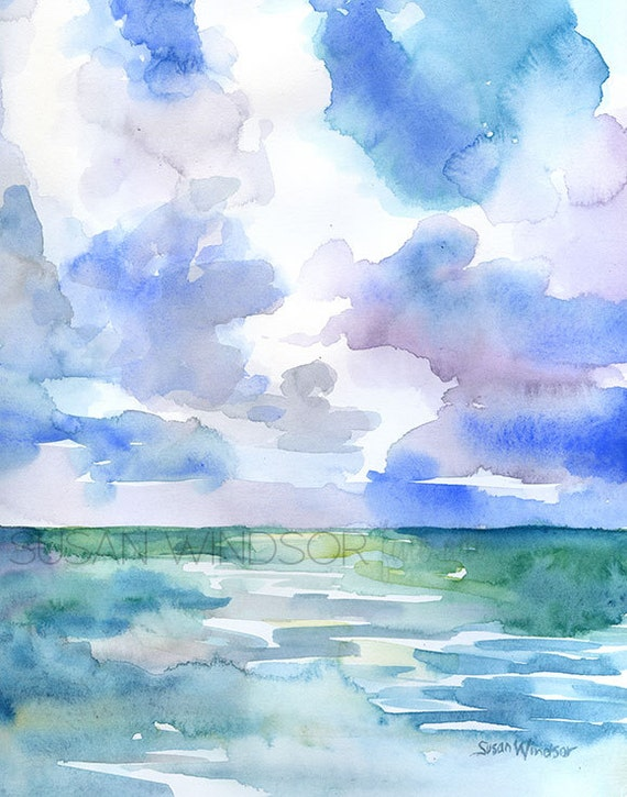 abstract ocean watercolor painting 11 x 14 giclee print On ocean watercolor painting