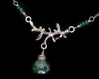 FREE SHIPPING---Green Emerald Drop Branch Necklace---Sterling Silver---Creations by Sandy