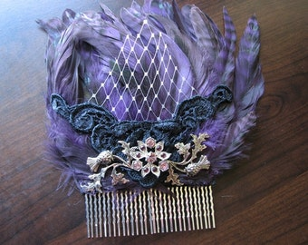 Purple hair comb | wedding | vintage | flower headpiece | scottish