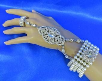 Rhinestone Bridal Bracelet,  Wedding Cuff Bracelet,  Pearl Rhinestone Bracelet