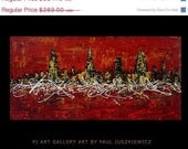 "20% OFF //ONE WEEK Sale/ Chicago City Scape Knife Abstract by Paul Juszkiewicz 48""x24"" red black"
