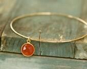 Gold birthstone bangle thin gold bangle July birthstone bracelet carnelian jewelry  Gracie
