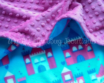 Minky Baby Blanket- raspberry with turquoise blue and pink princess castles- 30x35 READY TO SHIP- double minky blanket