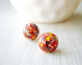 Orange Post Earrings - Nickel Free Studs, Titanium, Halloween, Confetti, Speckled, Multicolor, Multi Color, Simple, Small