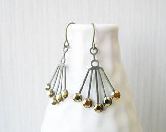 Gold Chandelier Earrings, Bridal Jewelry, Vintage Swarovski Drops, Dangle, Art Deco Style, Rhinestone, Antiqued Brass, 1920s, Drop, Spray