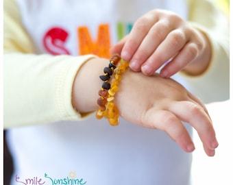 "Baby Amber Bracelet - 5.5"" Amber Teething Anklet or Bracelet - Raw Baltic Amber"