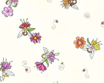 Butterfly Hollow by Moon Cookie Gallery for In the Beginning Fabrics - Full or Half Yard Fairies and Flowers on Yellow