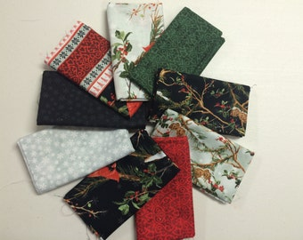 The Cardinal Rule from Wilmington Prints - 9 Fat Quarter Bundle Christmas Cardinals Black, Red, Green Snowflakes Pine Cones