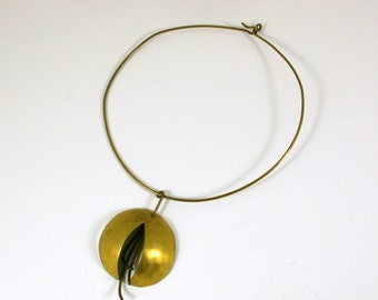 Modernist Brass Kinetic Choker and Pendant