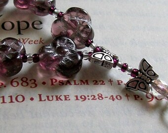 Prayer Bead Chaplet, Ecumenical Episcopal Anglican Protestant Non-Denominational, single 1 week, Purple FLOWER Czech Glass, Butterfly silver