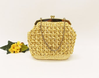 Vintage Petite Gold Beaded Raffia Purse--- Metal Frame and Gold Bling Beads--- Mid Century Woven Raffia Purse