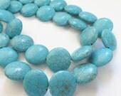 "Turquoise Beads - Coin Round Beads - Blue Gemstone Coin Beads - Natural Stone Magnesite - Dark Matrix - 15"" Strand -  Jewelry Making Supply"