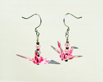Eco-Friendly Origami Pink Peace Crane Earrings Hand-Made